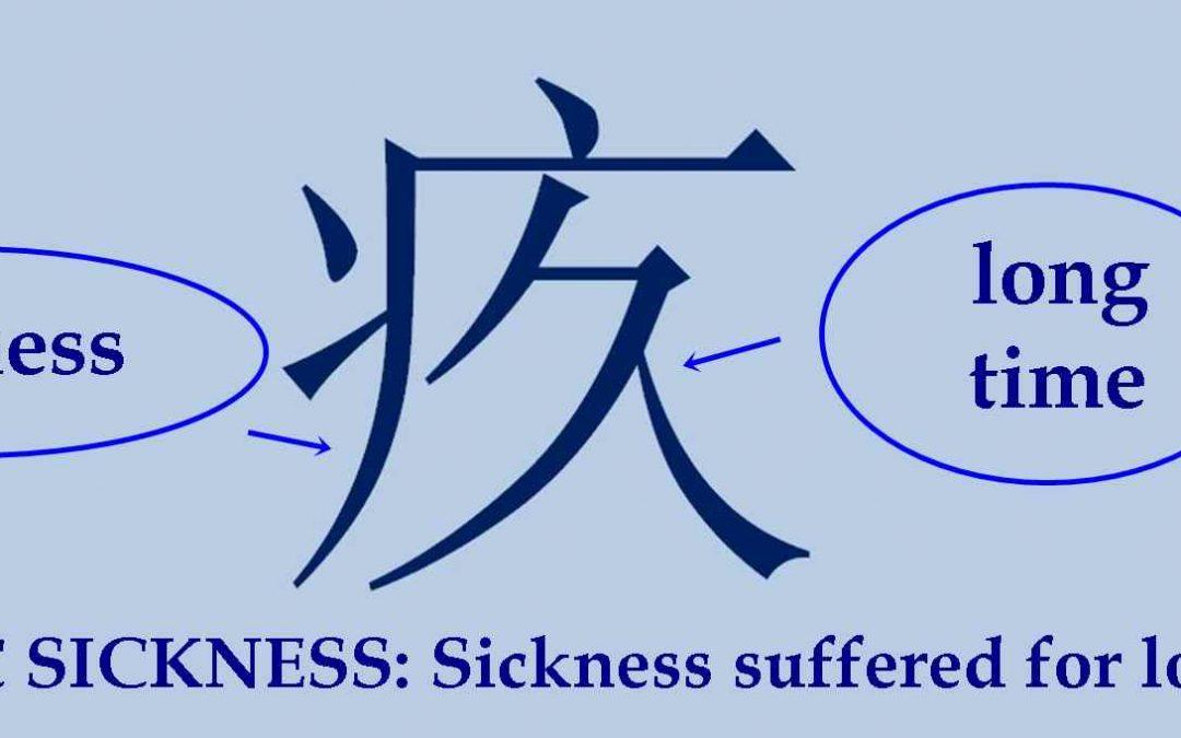 Chinese character 疚 jiù – chronic disease