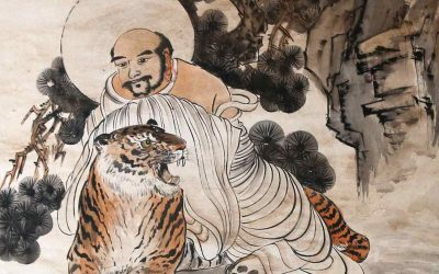 What are four tigers doing in a Chinese Buddhist Temple?